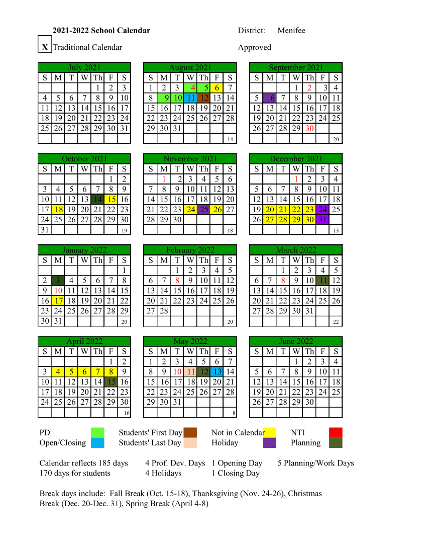 Calendar for 2021-2022 school year