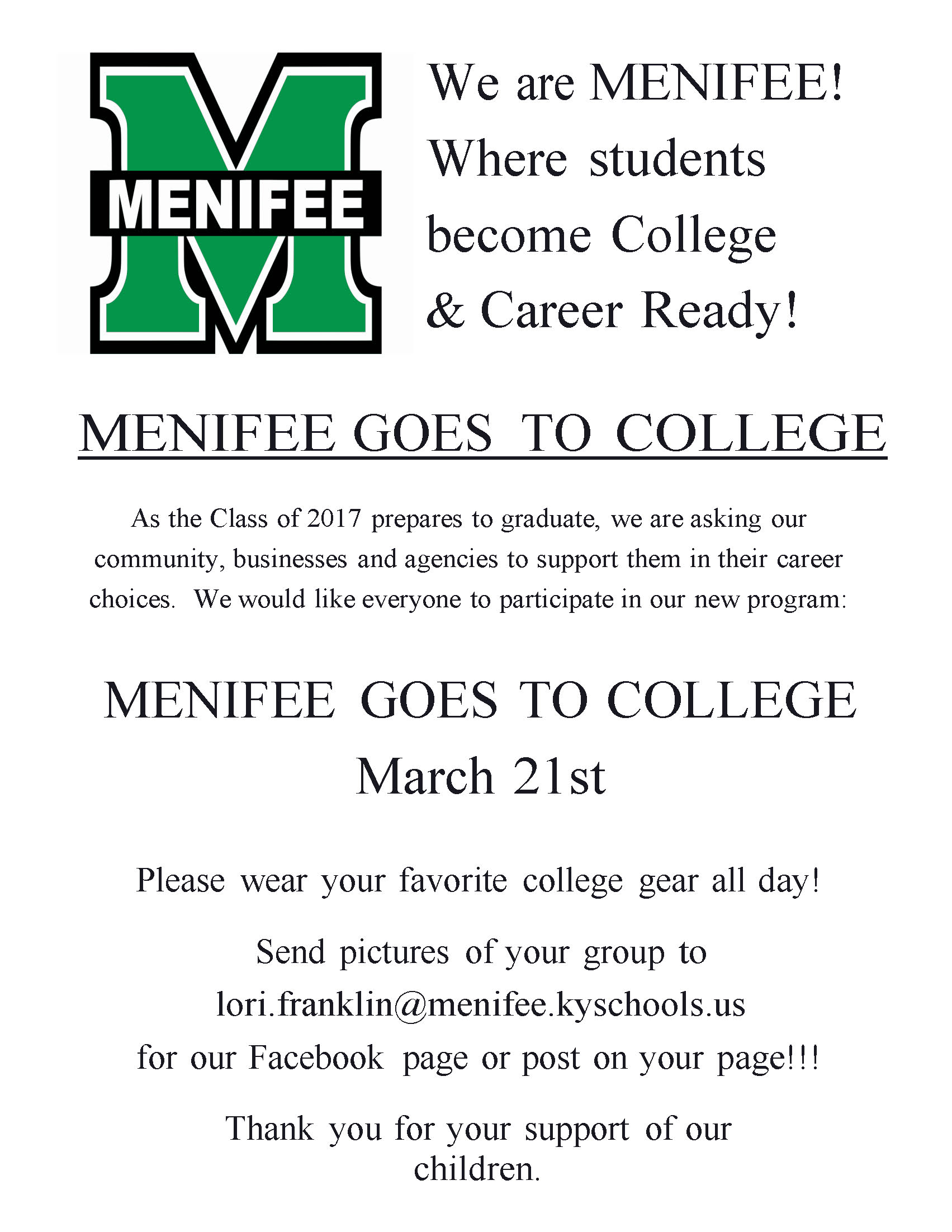 Menifee Goes to College March 21