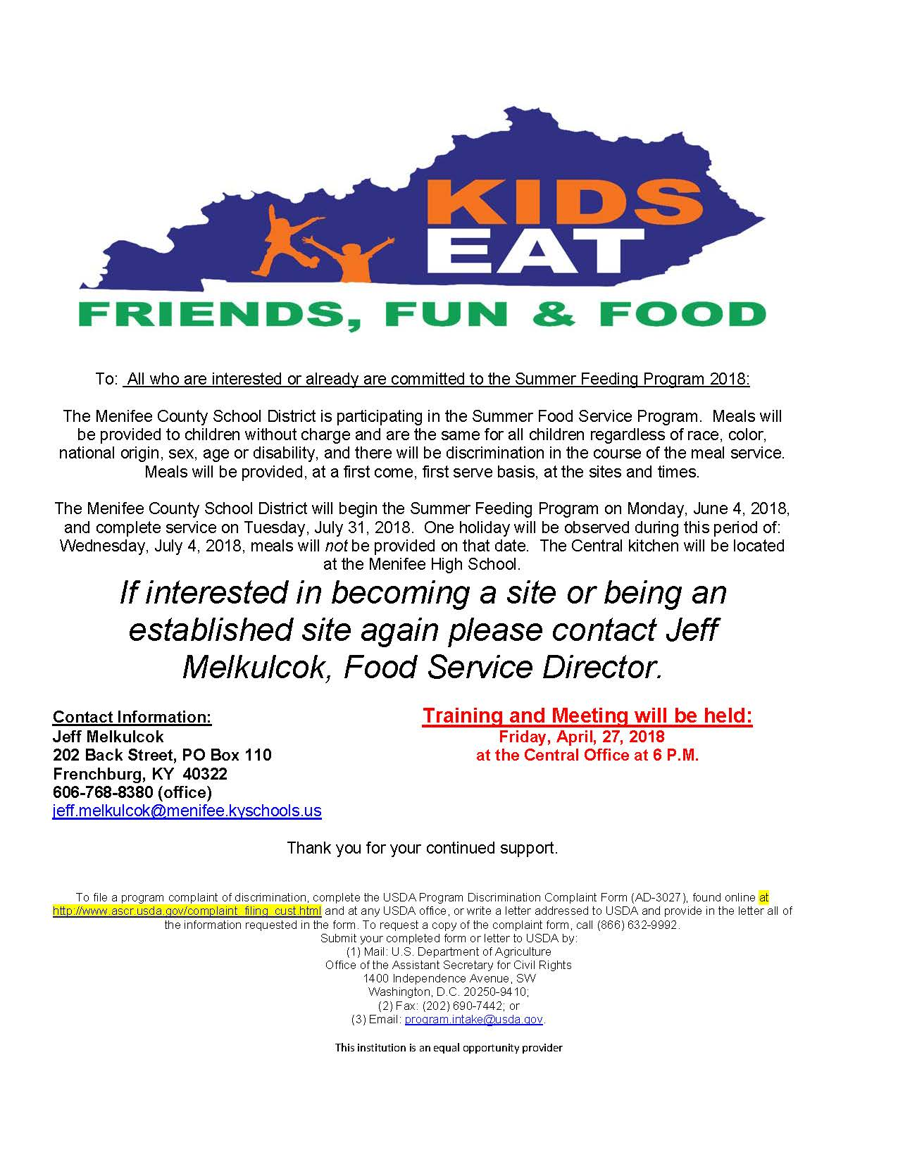 2018 Summer Feeding Program Flyer