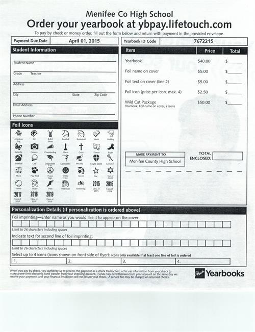 Order Your Yearbook! - Menifee County High School