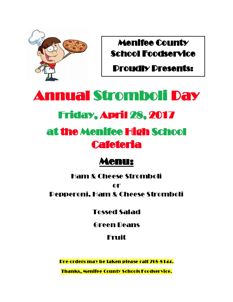 Annual Stromboli Day 4/28/17 MCHS Cafeteria